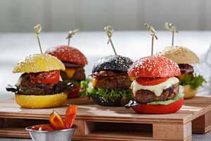 Fingerfood New York Style - Bunte Mini Burger - Unikorn Catering München